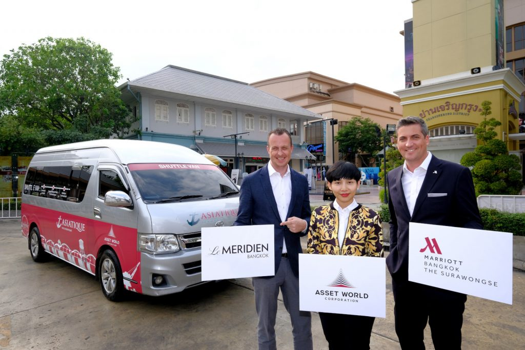 Asiatique The Riverfront joins forces with 2 hotels under the Asset World Corporation Group offering free Asiatique Shuttle Van service for tourists during the high season