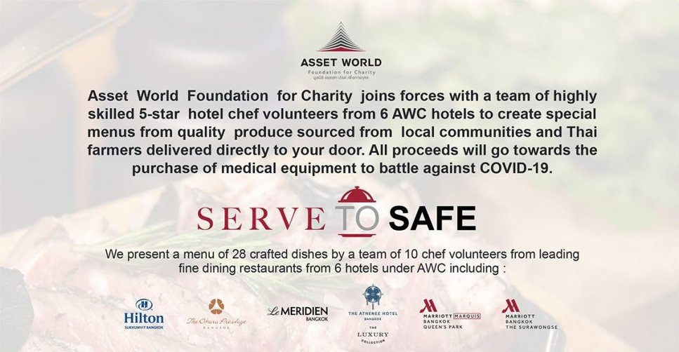 """Asset World Corporation with the power of One Spirit joins the battle against the Covid-19 pandemic through the charity project """"Serve to Safe"""" in support of the dedicated medical personnel taking care of Covid-19 patients"""